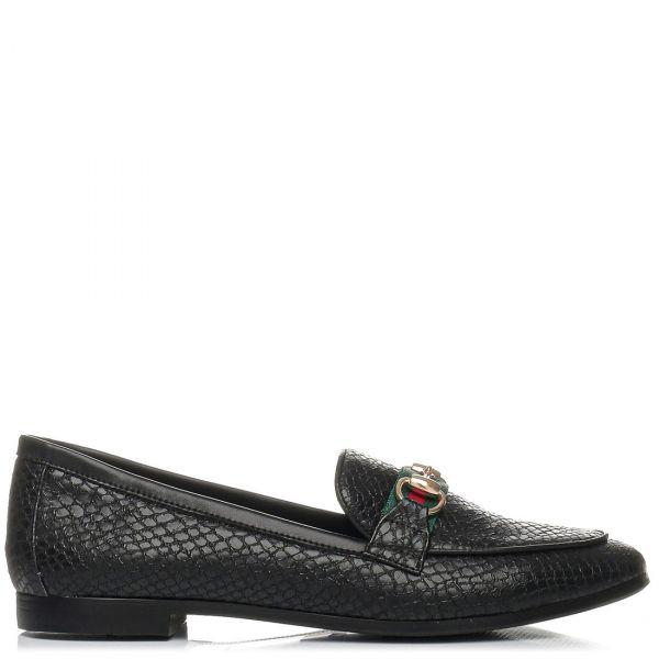 Μαύρο snakeskin loafer