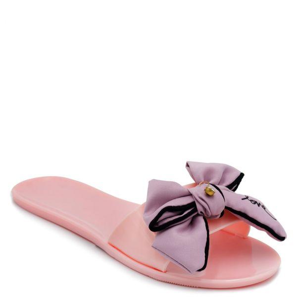 Ροζ διάφανα γυναικεία slides με φιόγκο