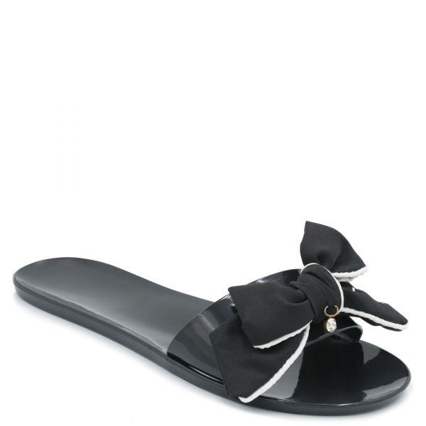 Μαύρα διάφανα γυναικεία slides με φιόγκο