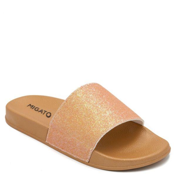Πορτοκαλί γυναικεία slides με glitter