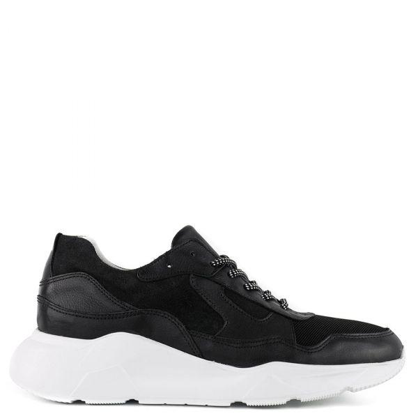 Ανδρικό μαύρο δερμάτινο sneaker
