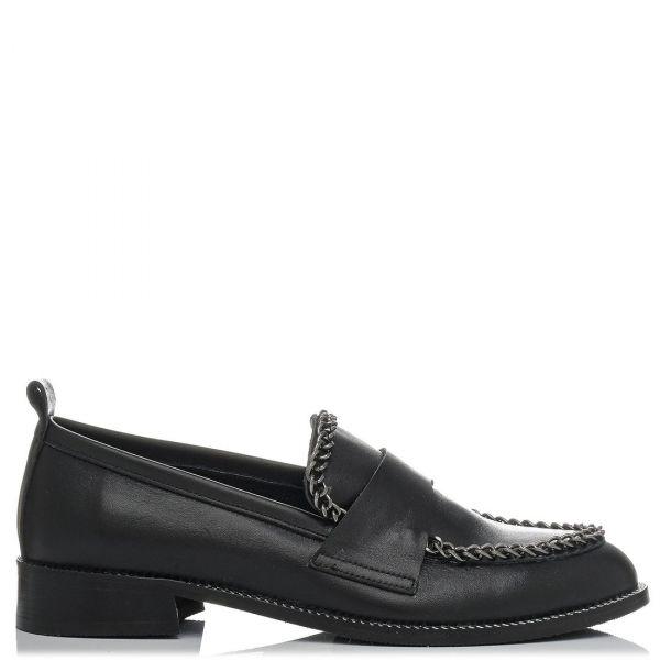 Μαύρο δερμάτινο loafer