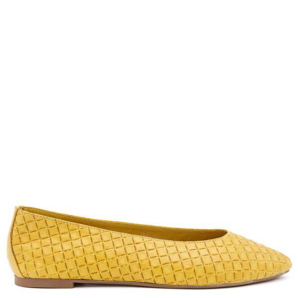 Κίτρινη δερμάτινη μπαλαρίνα