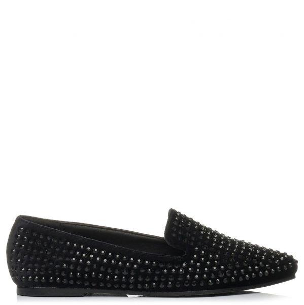 Μαύρο βελούδινο loafer με στρας