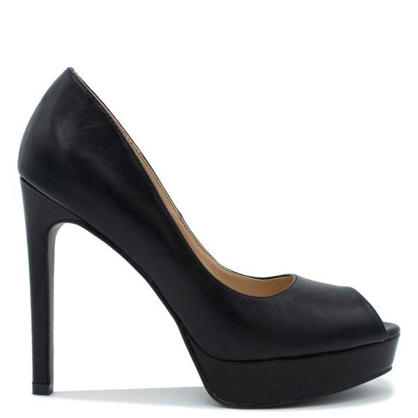 Μαύρη ψηλοτάκουνη peep-toe γόβα