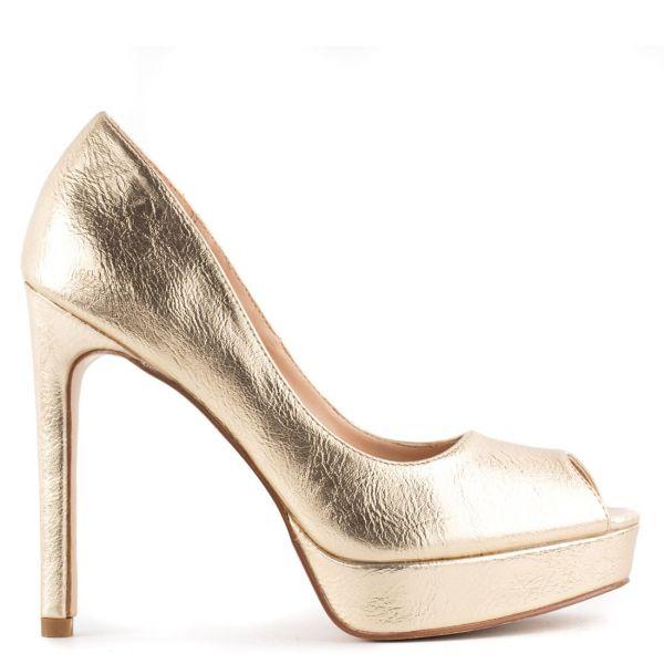 Χρυσή ψηλοτάκουνη peep-toe γόβα