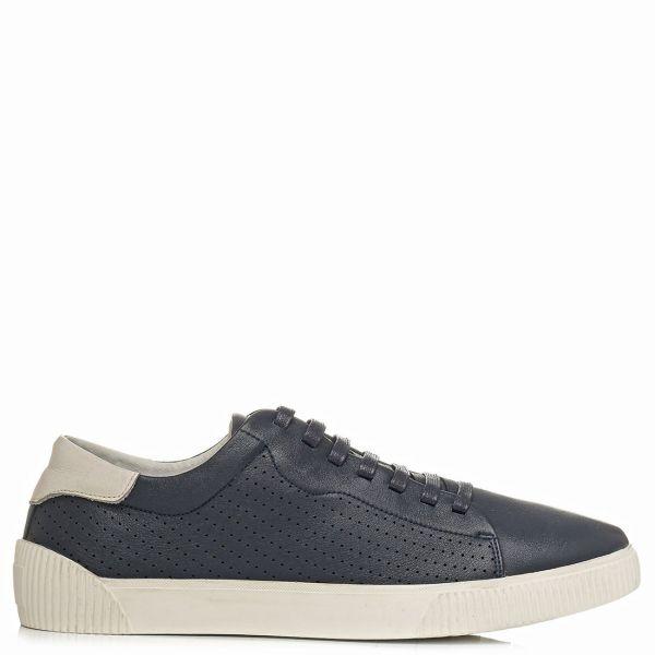 Ανδρικό σκούρο μπλε δερμάτινο sneaker
