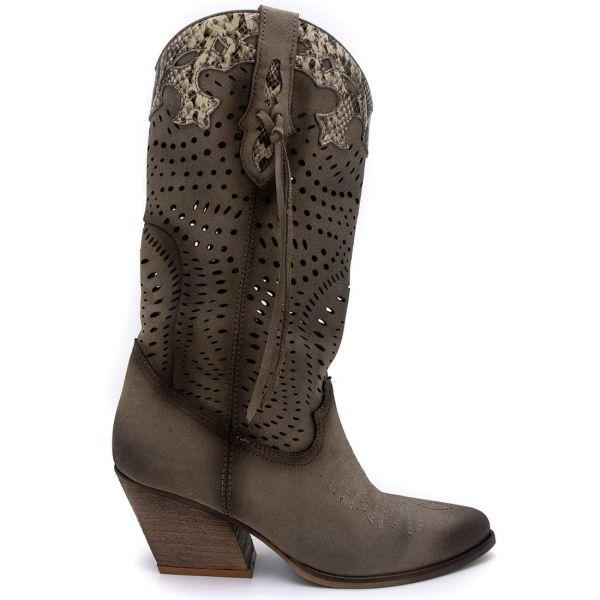 Γκρι δερμάτινη western μπότα