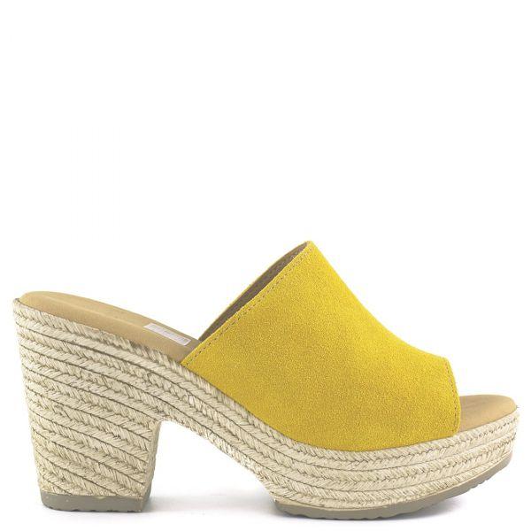 Κίτρινο δερμάτινο mule