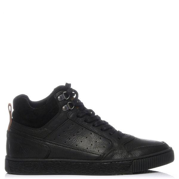 Ανδρικό μαύρο δερμάτινο sneaker μποτάκι
