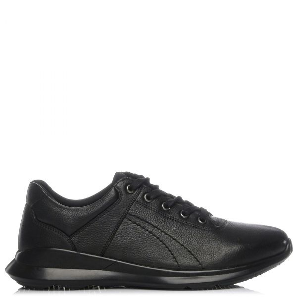 Ανδρικό μαύρο δερμάτινο casual παπούτσι