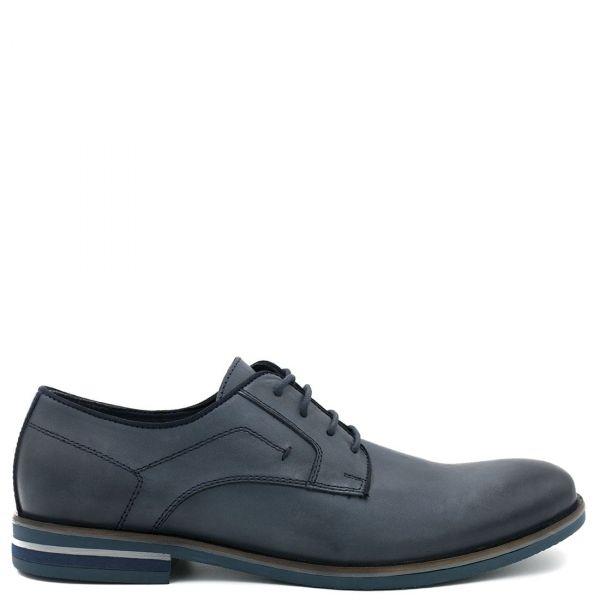 Ανδρικό μπλε δερμάτινο παπούτσι