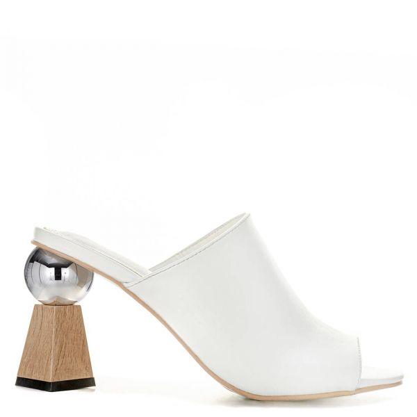 Λευκό peep toe mule