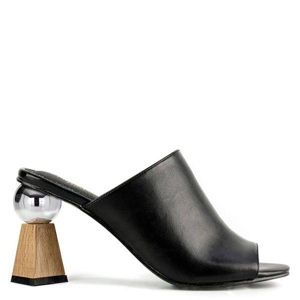 Μαύρο peep toe mule