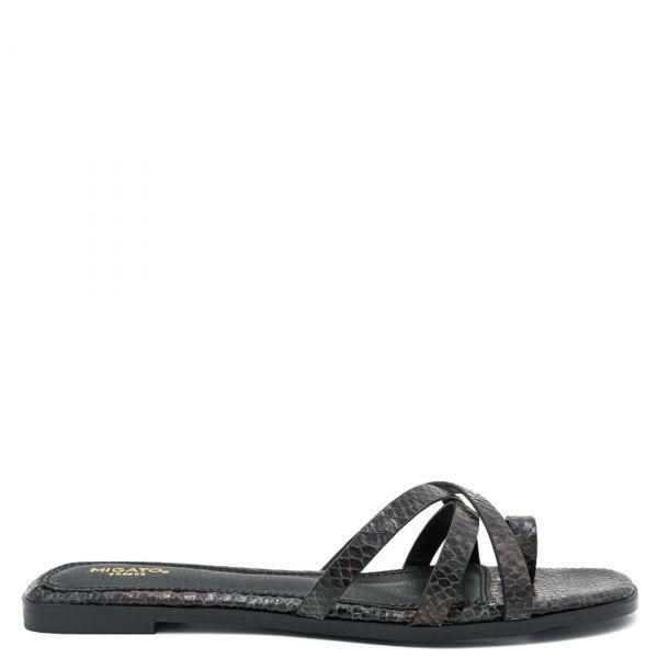 Μαύρο ίσιο snakeskin σανδάλι