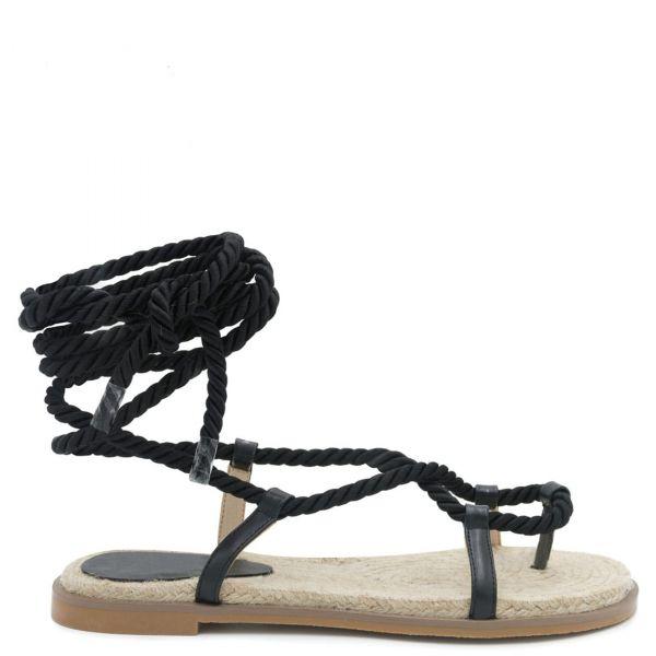 Μαύρο lace-up σανδάλι με σκοινί