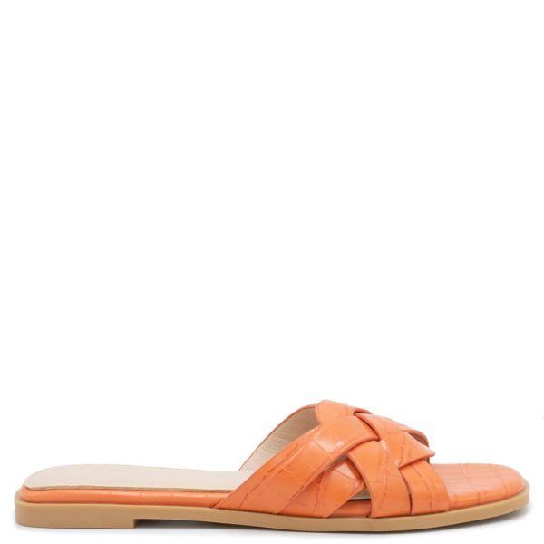 Πορτοκαλί μεταλλικό ίσιο σανδάλι