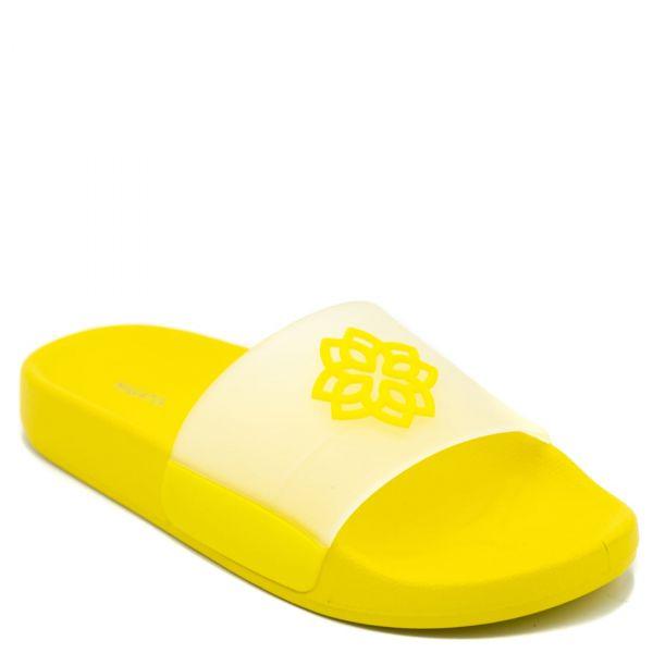 Κίτρινα γυναικεία slides με διάφανη φάσα