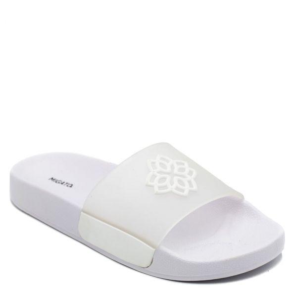Λευκά γυναικεία slides με διάφανη φάσα
