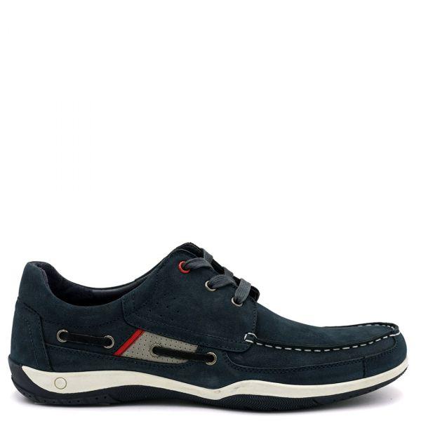 Ανδρικό μπλε nubuck boat shoe