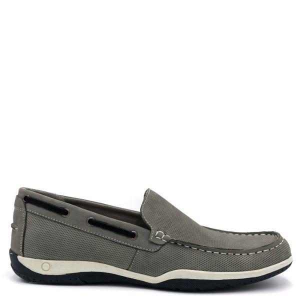 Ανδρικό γκρι δερμάτινο boat shoe