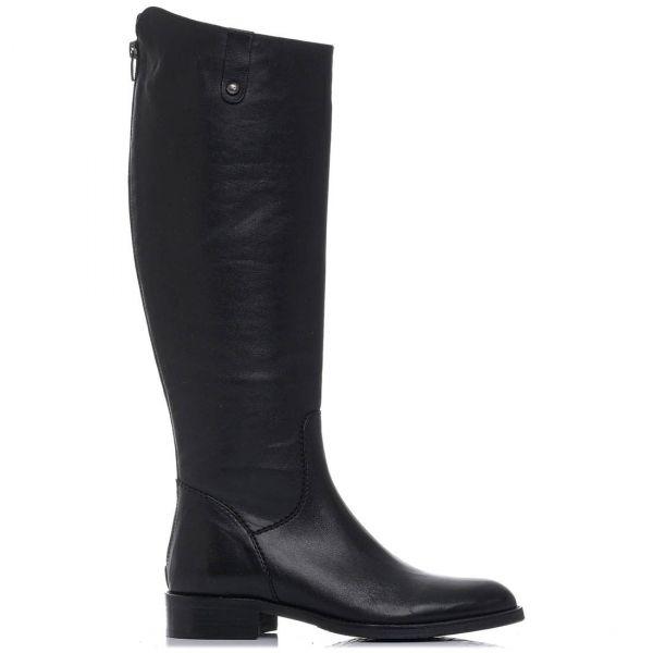 Μαύρη δερμάτινη μπότα ιππασίας