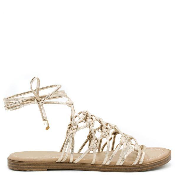 Χρυσό lace up σανδάλι
