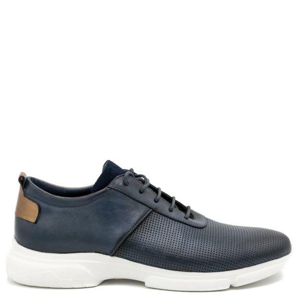 Ανδρικό μπλε δερμάτινο casual παπούτσι
