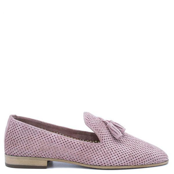 Ροζ δερμάτινο loafer