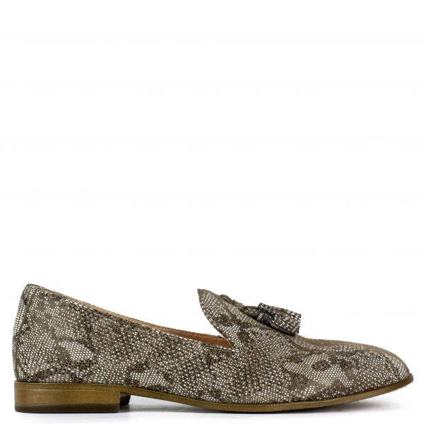 Μπεζ snakeskin δερμάτινο loafer