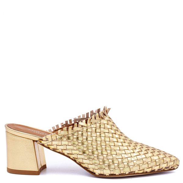 Χρυσό δερμάτινο mule