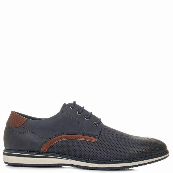 Ανδρικό σκούρο μπλε δερμάτινο παπούτσι