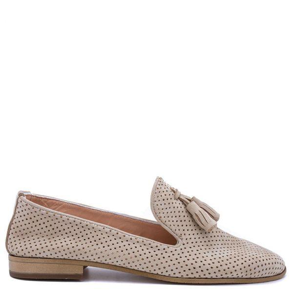 Μπεζ δερμάτινο loafer
