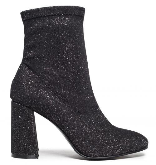 Pewter high heel bootie