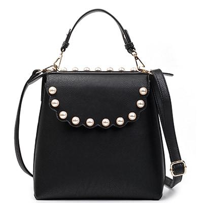 MIGATO BL019-L14 μαύρη τσάντα με πέρλες