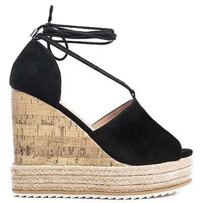 Black suede lace-up platform JS0212-L14