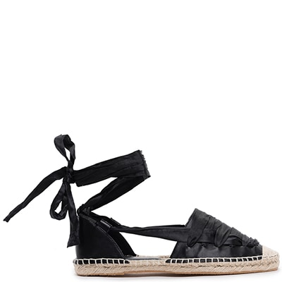 Black lace-up espadrille JS54-L14