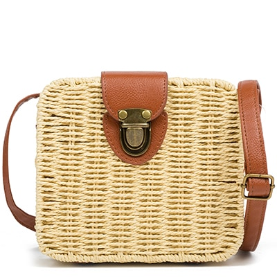 Beige straw bag KJ011-L10