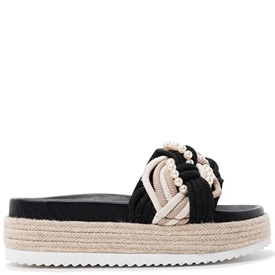 Black slide flatform with pearls MS1453-L14