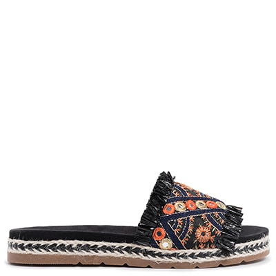 Black slide flatform with embroidery MS256-L14