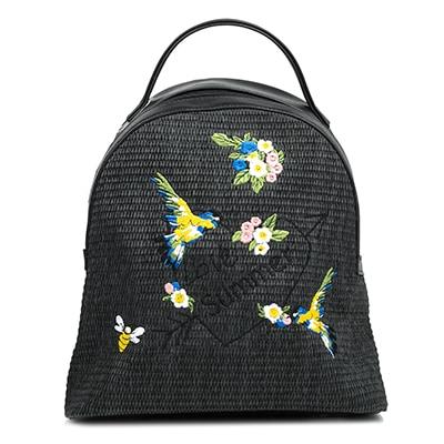 Black straw backpack PZ553-L14