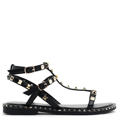 Black multistrap sandal with studs SH8201-L14