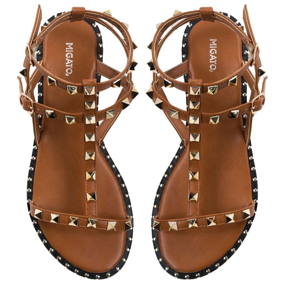MIGATO SH8201-L52 camel multistrap sandal with studs