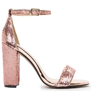 MIGATO WN5001-L0S sequined rose gold sandals
