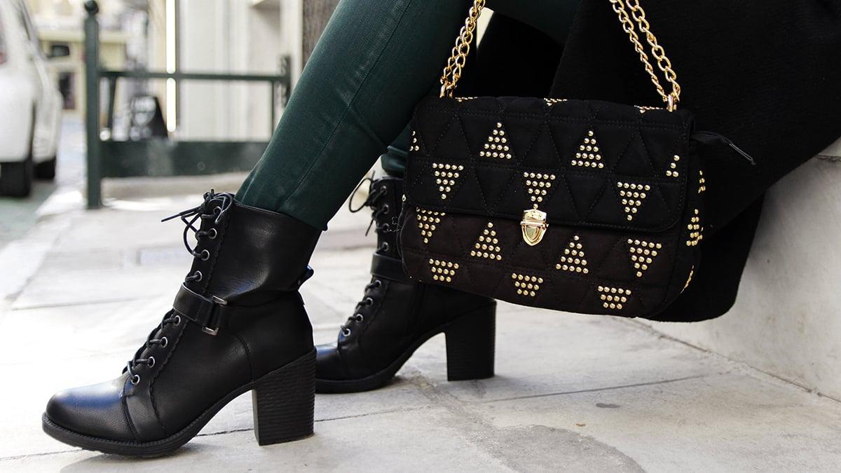 Black high heel bootie OD827-L14
