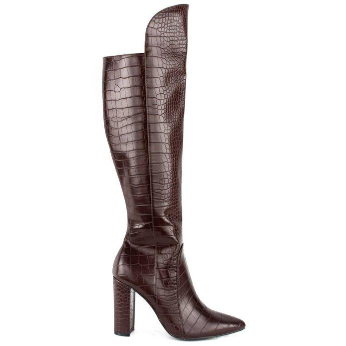 Καφέ κροκό μπότα LSM7042-L12
