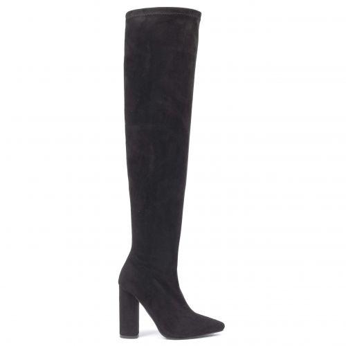 Μαύρη σουέντ μπότα πάνω από το γόνατο ST6033-L14
