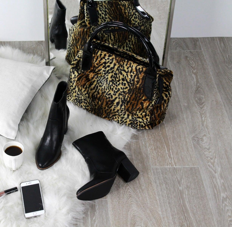 Λεοπάρ τσάντα hobo με υφή γούνας DS009-L14
