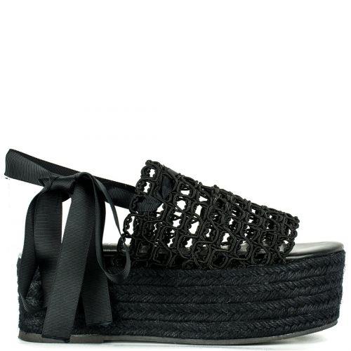 Μαύρη lace up πλατφόρμα LSM7101-L14